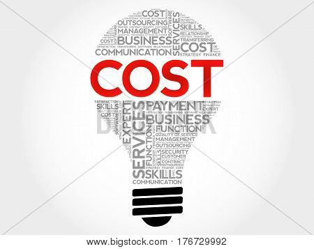Cost bulb word cloud collage, business concept background
