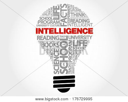Intelligence bulb word cloud collage, business concept background
