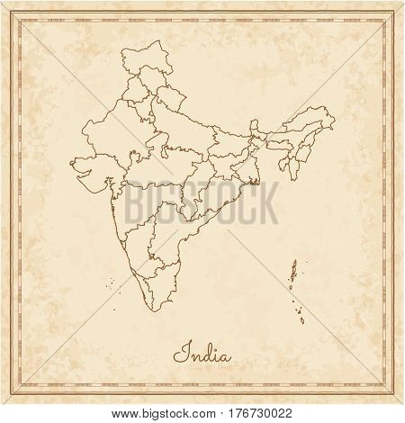 India Region Map: Stilyzed Old Pirate Parchment Imitation. Detailed Map Of India Regions. Vector Ill
