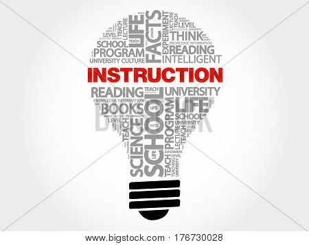 INSTRUCTION bulb word cloud , business concept