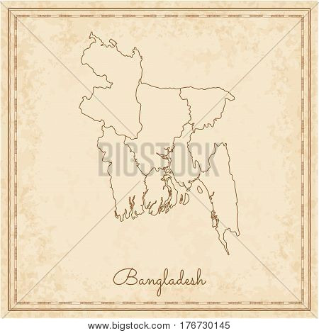 Bangladesh Region Map: Stilyzed Old Pirate Parchment Imitation. Detailed Map Of Bangladesh Regions.
