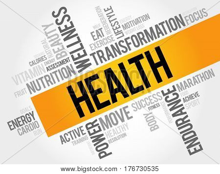 HEALTHY word cloud fitness sport health concept