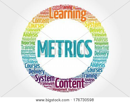 Metrics circle word cloud , business concept