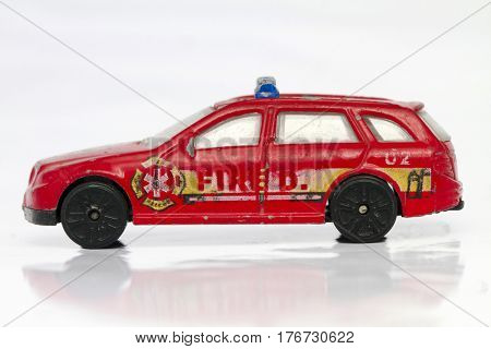 small red firte car