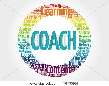 Coach circle word cloud , business concept