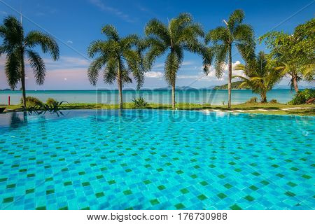 swimming pool at Trat in Thailand Summer