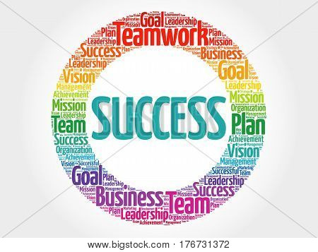 Success circle word cloud , business concept