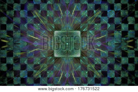 Image of an abstract pattern in the form of a green square with divergent lilac rays on a checkered background with green and black squares