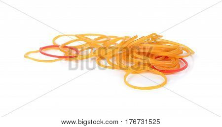 Rubber Bands on White Background office, supply, yellow, colorful, pile, macro, group,