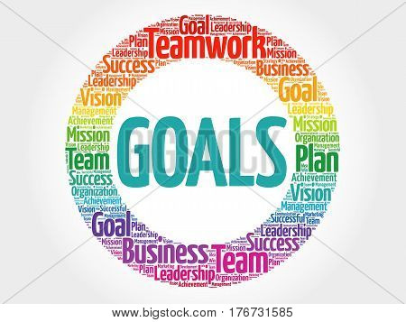 Goals word cloud collage, business concept background