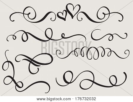 set art calligraphy flourish of vintage decorative whorls for design. Vector illustration EPS10.