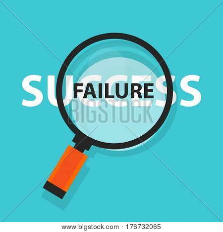 failure success concept business analysis behind magnifying glass symbol vector
