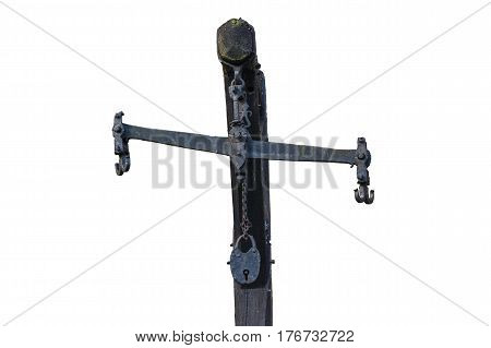 Antique scales of iron. Market balance beam scale