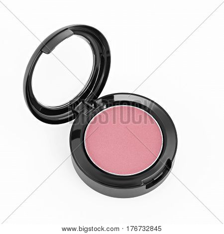 face powder and blush isolated on white background