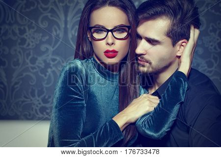 Sexy smart confident woman entice young rich man playing with feelings seduction poster