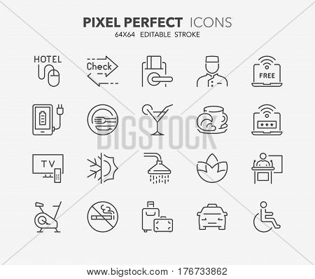 Set of hotel service amenities thin line icons. Contains icons as express check in-out key card conference hall no smoking accessibility and more. Editable vector stroke. 64x64 Pixel Perfect.