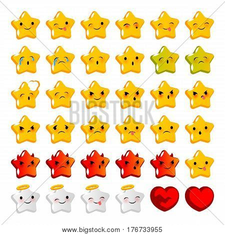 Emotional stare cute faces smiles big set. Vector illustration smile icon. Face emoji yellow icon. Smile cute funny emotion face on isolated background. Happy feelings, expression for message, sms.