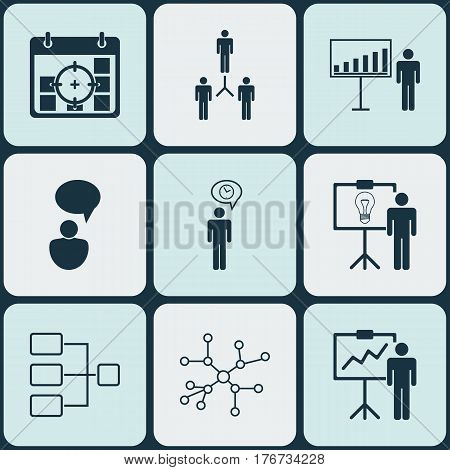Set Of 9 Management Icons. Includes Solution Demonstration, Project Targets, Opinion Analysis And Other Symbols. Beautiful Design Elements.