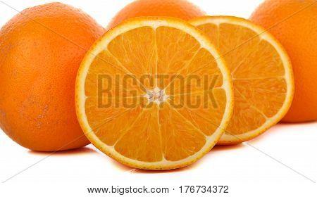 navel oranges on white background  half, round, section, skin, fruit, fresh, hybrid, sliced, exotic, rind, juicy