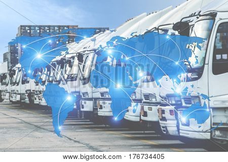 Map global logistics partnership connection of Container Cargo freight truck for Logistics Import Export background (Elements of this image furnished by NASA)