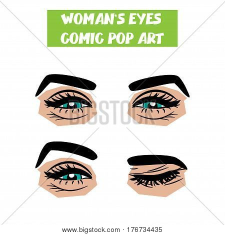 Beautiful sexy girl blue smiling, winking eyes with long eyelashes, eyebrows. Emotional look style pop art. Comic book retro white background. Vector comic woman cartoon illustration. Body part.