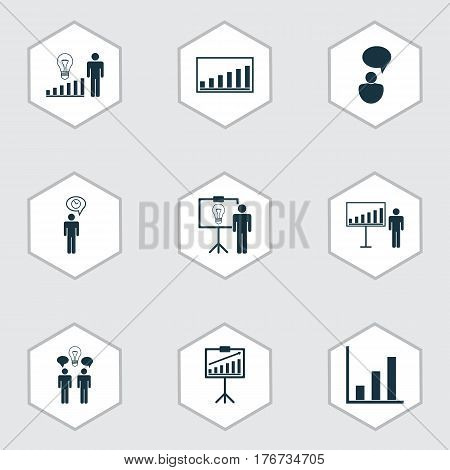 Set Of 9 Administration Icons. Includes Opinion Analysis, Planning, Decision Making And Other Symbols. Beautiful Design Elements.