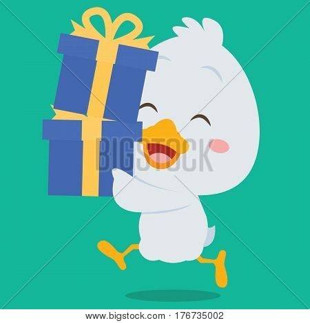 Character swan with gift illustration collection stock