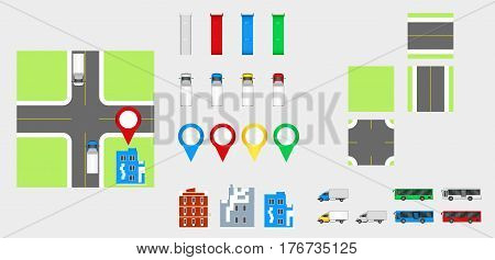 Cityscape Design Elements With Road, Transport, Buildings, Navigation Pins. Road Map Vector Illustra