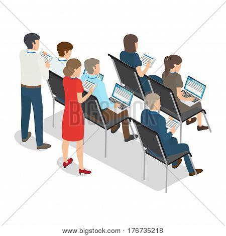 Group of people with laptop and plane table on business coaching in vector illustration. Most businesspeople sitting and some standing and holding tablet computer. Humans isolated on white background.