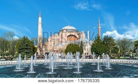 Istanbul, Turkey - February 18, 2017: Hagia Sophia (Ayasofya) museum view from the Sultan Ahmet Park in Istanbul, Turkey