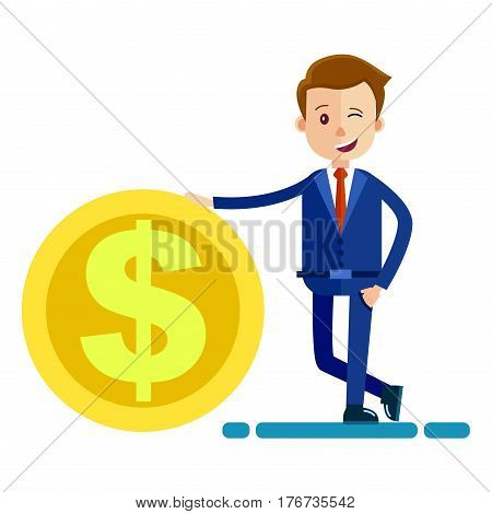 Successful man in business suit keeps hand on big gold coin with emblem of dollar. Person winking with one eye and smiling. Businessman with piece of money in cartoon style vector illustration.
