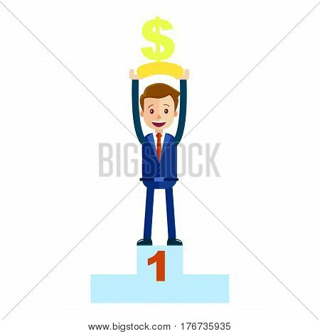 Manager on top place with money dollar sign isolated on white. First place at pedestal, man in blue suit with red tie hold reward prize above head vector illustration in cartoon style flat design