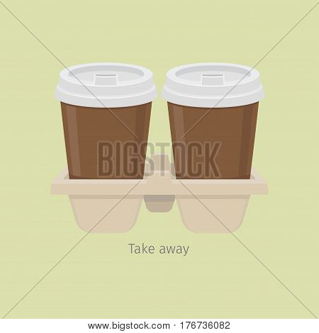 Two take away paper coffee cups in carton holder on light olive background. Vector illustration of brown cups with white covers in special double holder. Take away hot beverage in flat style