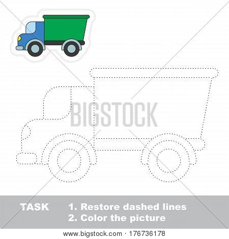 Restore dashed line and color the picture, the educational vector game for kids with easy game level. Simple kid tracing worksheet with Lorry