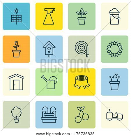 Set Of 16 Agriculture Icons. Includes Birdhouse, Farmhouse, Agrimotor And Other Symbols. Beautiful Design Elements.