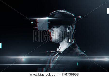 cyberspace, augmented reality, technology and people - man in virtual headset or 3d glasses over glitch effect