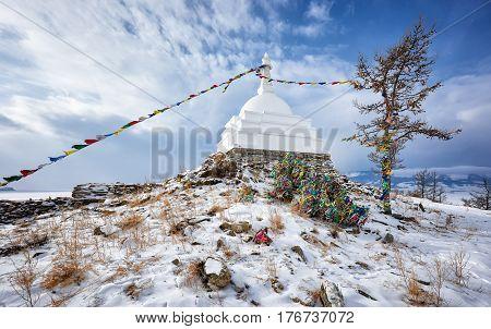 Enlightenment Stupa. Ogoy Island. Lake Baikal