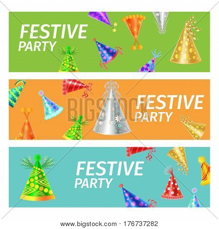 Festive Party poster with different color festive caps on three-colored background, green, orange and blue. Vector illustration of invitation to big party. Banners for funny holiday celebration