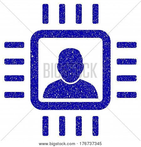 Grunge Neuro Processor rubber seal stamp watermark. Icon symbol with grunge design and scratched texture. Unclean vector blue emblem.