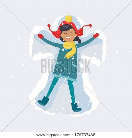 Little brunette girl in red hat, yellow scarf and winter coat makes snow angel on snowy background. Vector illustration of childhood and happiness in simple moments. Winter leisure activity of child.