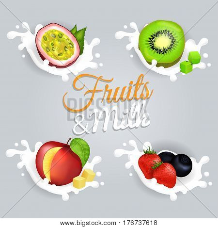 Fruit splashing in milk colorful vector poster. Halves of violet passion fruit and green kiwi, juicy mango with square pieces, red strawberries and blueberries lying in milk on grey background