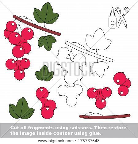 Use scissors and glue and restore the picture inside the contour. Easy educational paper game for kids. Simple kid application with Red Currant