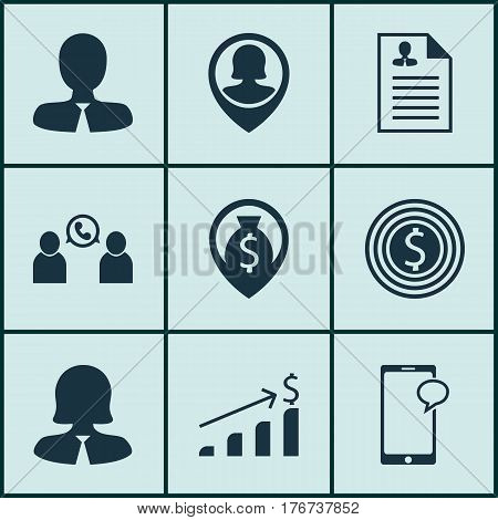Set Of 9 Hr Icons. Includes Curriculum Vitae, Money Navigation, Phone Conference And Other Symbols. Beautiful Design Elements.