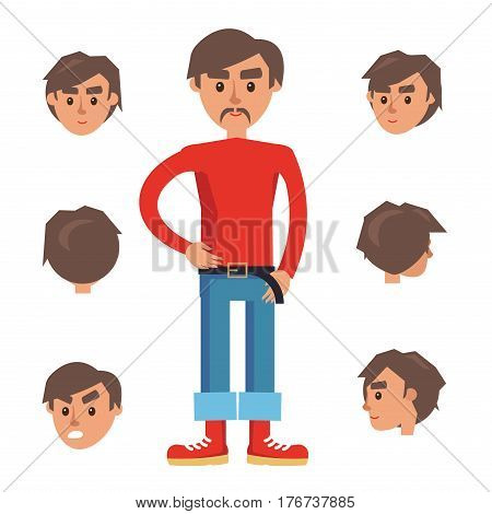 Man Constructor. Character in red turtleneck, jeans and red sneakers isolated on white background. Set of six heads includes faces with different emotions and foreshortening vector illustration.