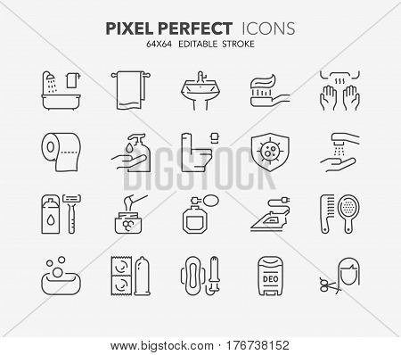 Set of hygiene and cleaning thin line icons. Contains icons as health care antibacterial cleaning corporal hygiene dental hygiene and more. Editable vector stroke. 64x64 Pixel Perfect.