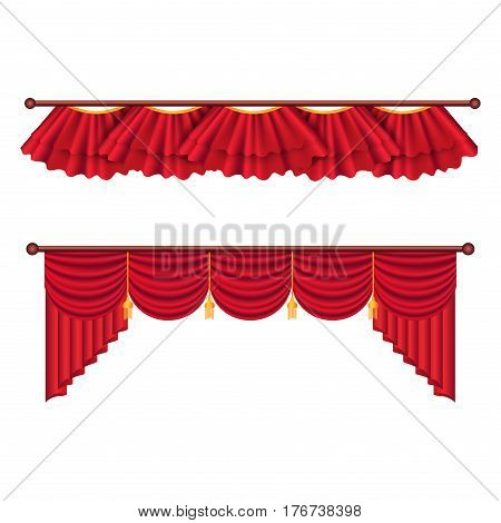 Red Curtains Set. Two theater curtains illustration isolated on white background. Luxury scarlet curtains and draperies. Theatre, banquet and concert hall decorations. Isolated vector illustration.