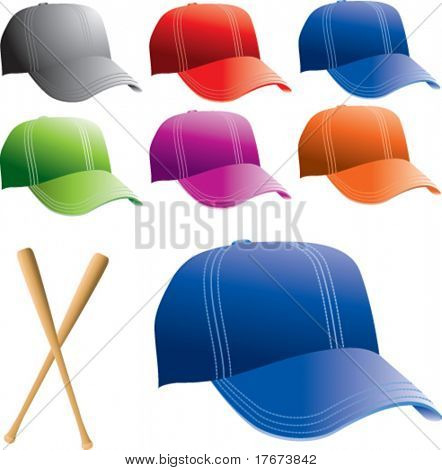 colored baseball caps