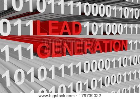 lead generation is presented in the form of binary code 3d illustration