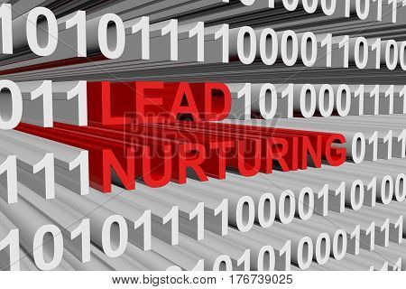 LEAD NURTURING is presented in the form of binary code 3d illustration