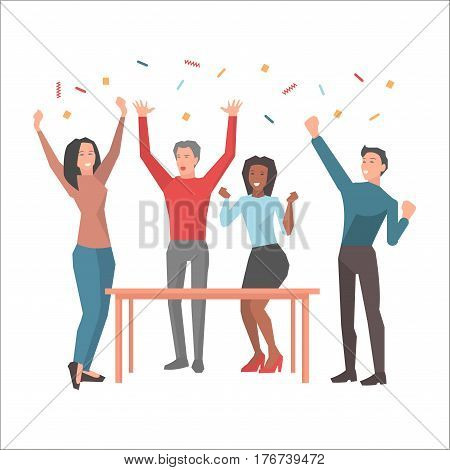 Young people having fun and startuping varicolored confetti on white background. Happy workers, men and two girls dancing near wooden table. Vector illustration web banner cartoon style.